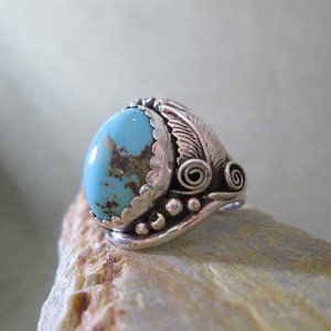 Navajo Turquoise Ring Sterling Silver  Mens Sz 13